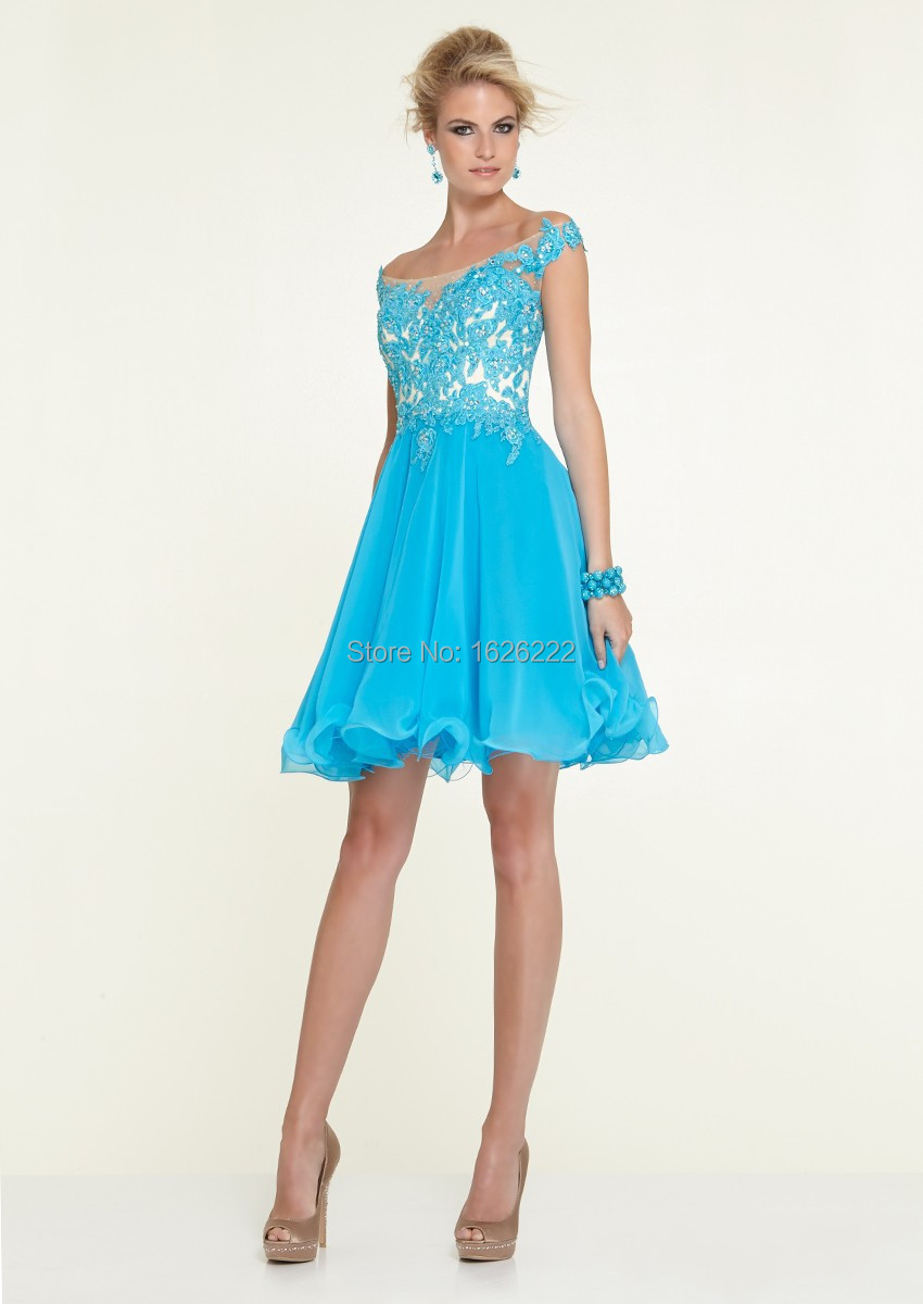 Latest lace short cocktail dress cocktail party dress light blue ...