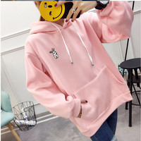 DoreenBow 1PC Women Solid Color Hoodies Cute Cartoon Rabbit Ear Hooded Velvet Embroidered Female Loose Sweatshirts