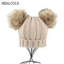 2018 New Girls Winter Hats For Kids Boys Fur Pompones Hat Warm Knit Pom pom Beanie Hat цена в Москве и Питере