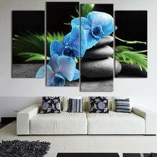 Художественная живопись, HD Печатный холст, постер для дома, 4 панели, Орхидея, цветы, дзен, камни, рамка, Настенный декор, гостиная, модульные к...