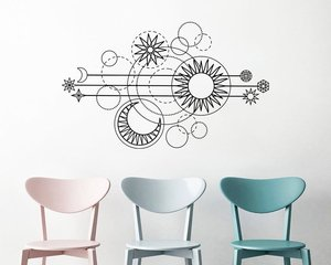 Image 1 - Geometric Moon Phase Wall Decal Gold Moon Phase Sun Decal Moon Wall Decal Bedroom Living Room Home Art Deco Wallpaper 2WS42