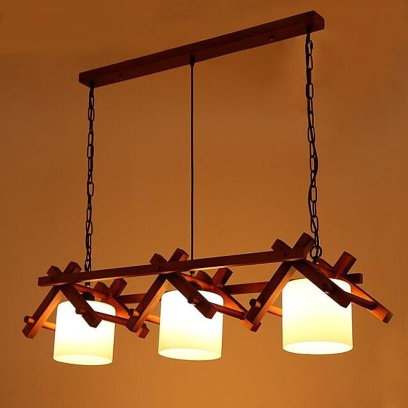 Solid Wooden living room dining room pendant light Southeast Asian American  Mediterranean new Chinese dining room dining zh MZ42