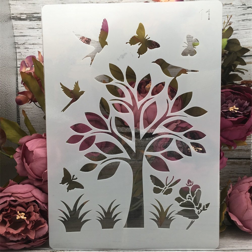 A4 29cm Butterfly Bird Flower DIY Layering Stencils Painting Scrapbook Coloring Embossing Album Decorative Paper Template