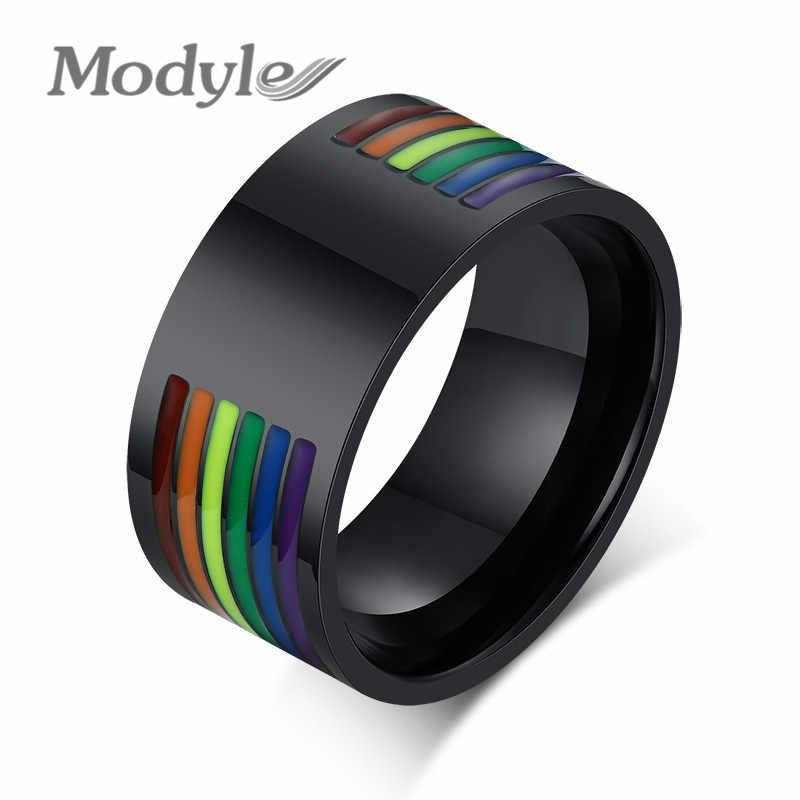 Modyle 2019 ใหม่ 10 มม.สแตนเลสเคลือบสายรุ้งสายรุ้ง LGBT Pride แหวนสำหรับ Man Woman เลสเบี้ยน & งานแต่งงานเกย์แถบเครื่องประดับ
