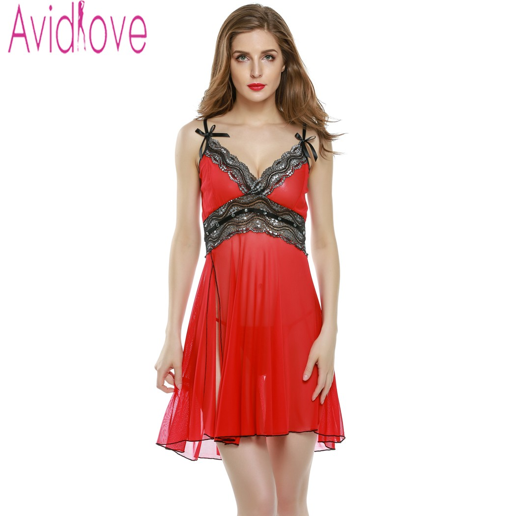 Avidlove Sleepwear Women Sexy Lingerie Babydoll Lady See-Through Nightdress Lace Sexy Exotic Lingerie Nightgown + G-String