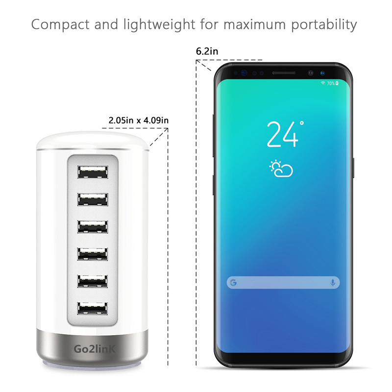 Universal 6 Ports phone charger 30W Multiport USB Charger Station Portable Travel Wall Charger for iPhone 7 6 5 ipad Tablets S8
