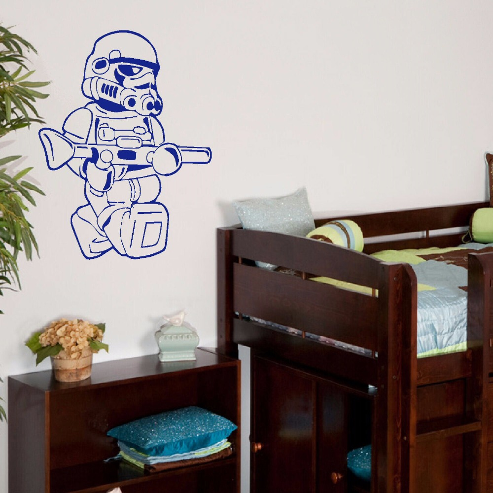 Large star wars lego men storm trooper for children kids bedroom large star wars lego men storm trooper for children kids bedroom wall art sticker vinyl self adhesive transfer decal home decor in underwear from mother amipublicfo Gallery