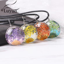 Luyun Dried Flower Necklace  Crystal Glass Jewelry Pendant Wholesale Free Shipping