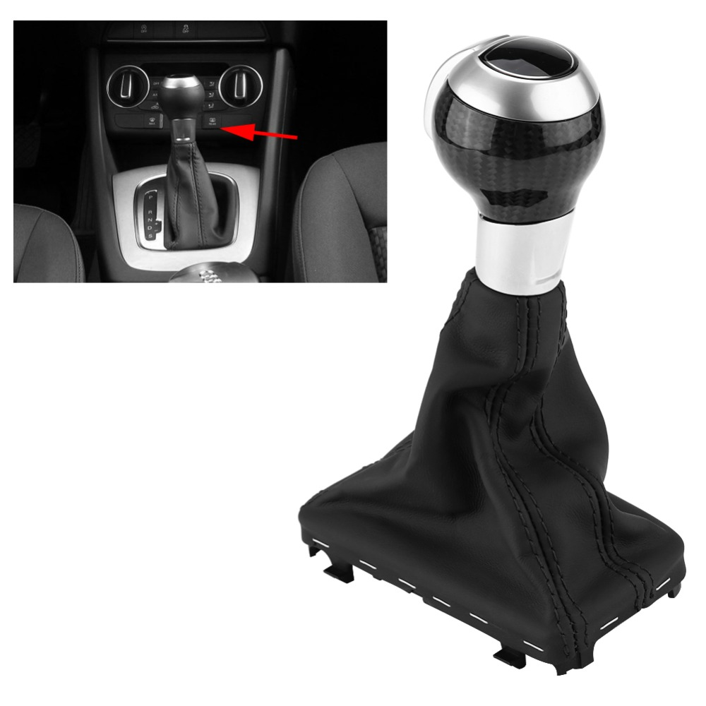 Carbon Fiber Nappa Leather Automatic Gear Shift Knob Gaiter Boot Cover Universal for Audi Q3 A3