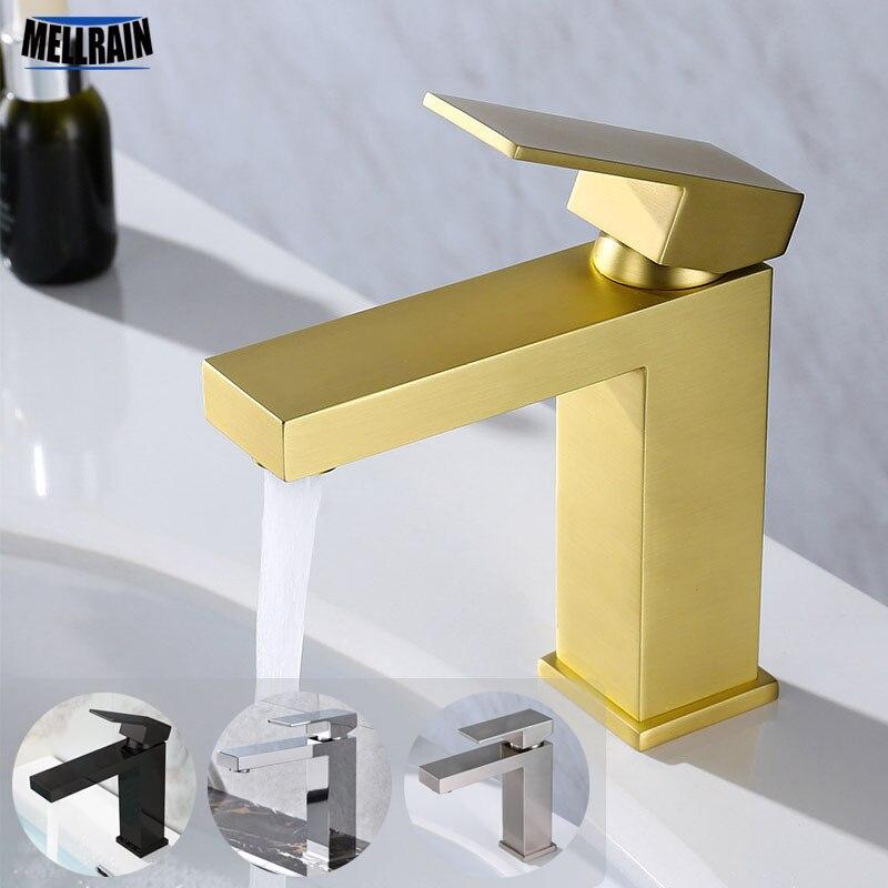 Матовый Золотой квадратный кран горячей и холодной воды для ванной комнаты, 100% чистый латунный матовый черный высококачественный смесител...