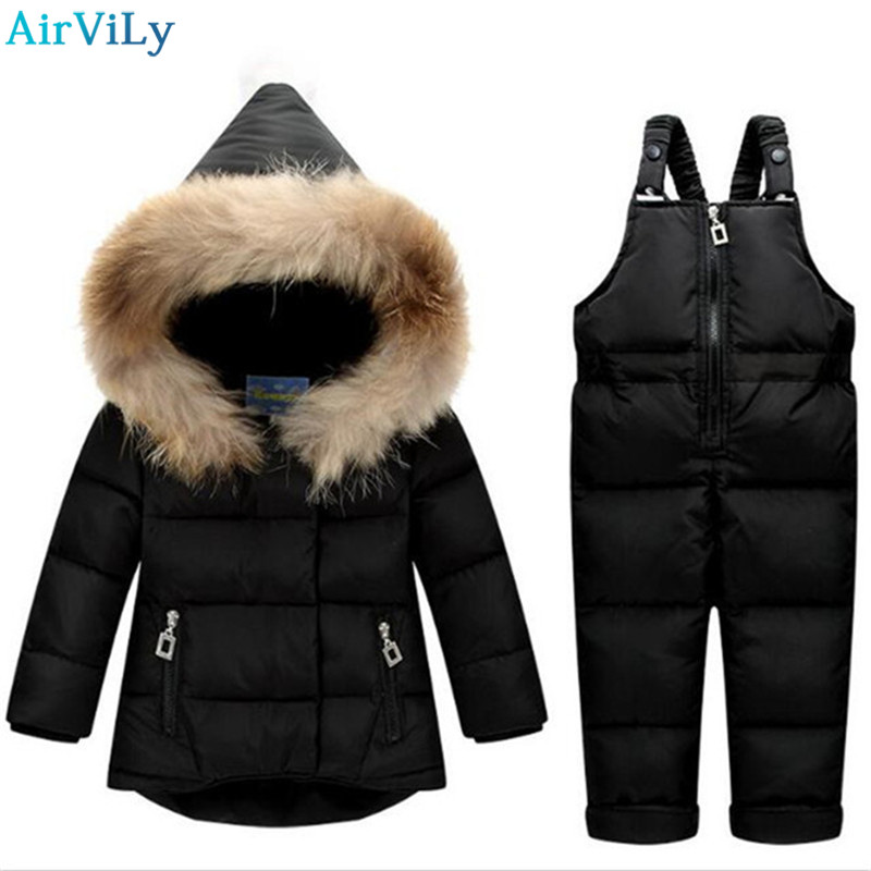 Russian Winter Toddler Clothes Set Baby Duck Down Suit Boys Clothing Kids Tracksuits Children Snow Wear Thick Coat Fur Overall 2014 children s clothing baby down coat set large fur collar red male