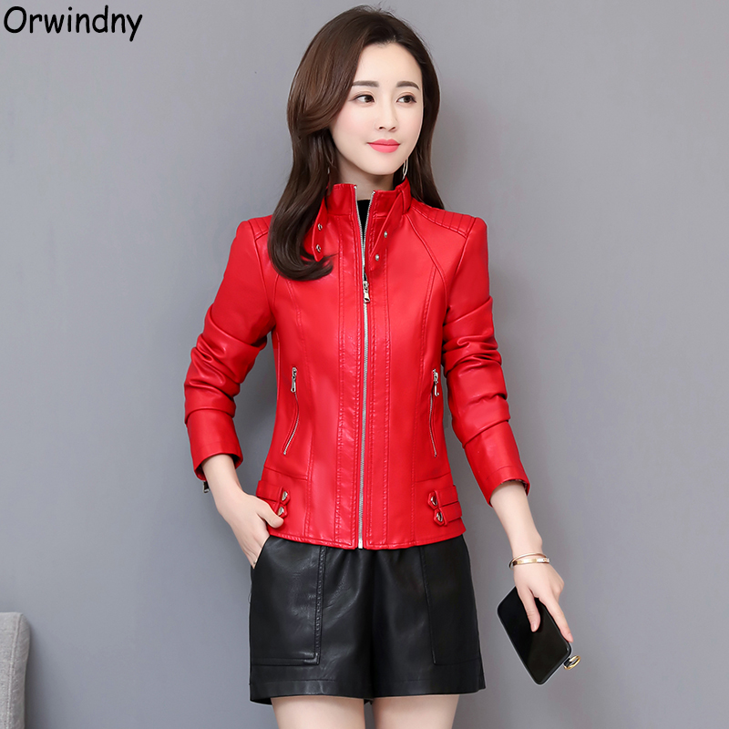 Orwindny Motorcycle   Leather   Jacket Female Stand Collar Autumn   Leather   Clothing Streetwear Red Spring   Leather   Coats Tops