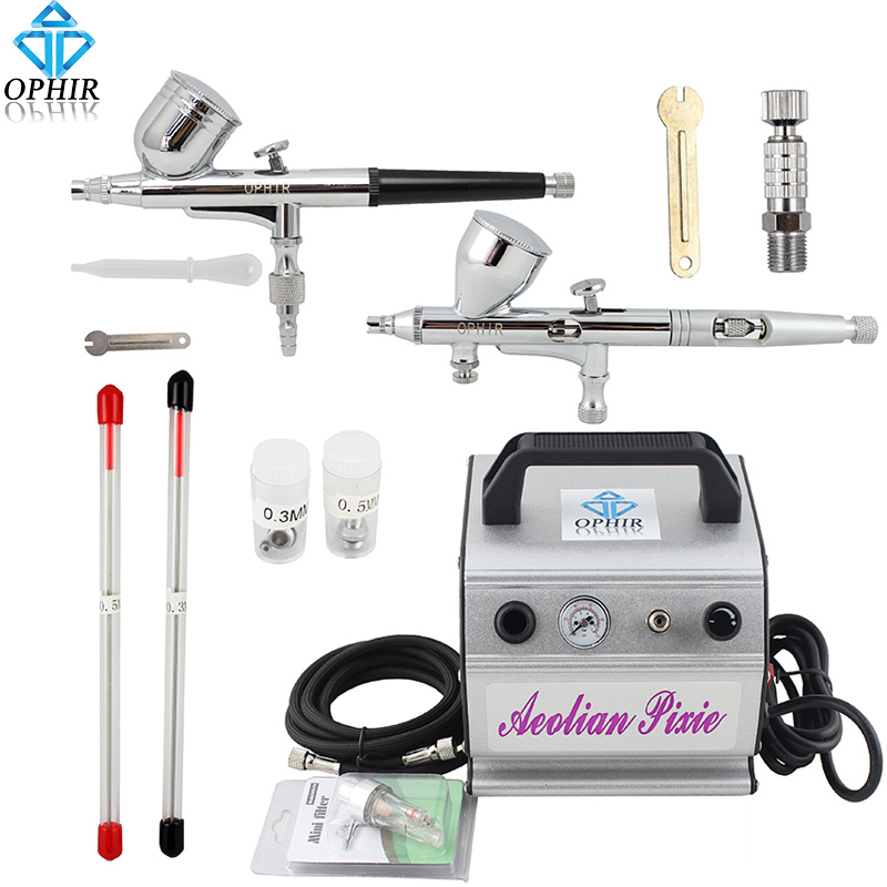 OPHIR 0.2mm 0.3mm 0.5mm Dual Action Airbrush Kit with Air Compressor for Temporary Tattoo/Cake Decorating/Nail Art_AC088+004+070 image