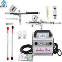 OPHIR 0.2mm 0.3mm 0.5mm Dual Action Airbrush Kit with Air Compressor for Temporary Tattoo/Cake Decorating/Nail Art_AC088+004+070