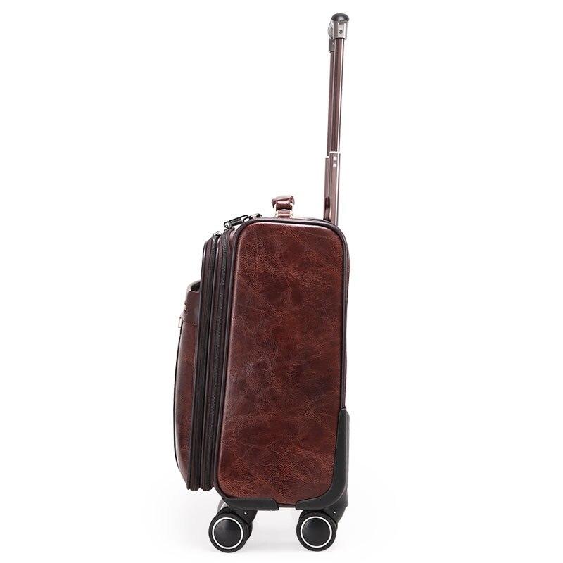16 pouces café cuir Trolley fixation rétractable et mécanisme d'attache de sécurité hommes affaires valise à roulettes sac de voyage mala de viagem valiz-in Valises rigides from Baggages et sacs    3