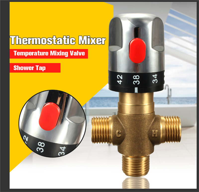 Brass Thermostatic Mixing Valve Bathroom Faucet Temperature Mixer Control Thermostatic Valve Home Improvement AccessoriesBrass Thermostatic Mixing Valve Bathroom Faucet Temperature Mixer Control Thermostatic Valve Home Improvement Accessories