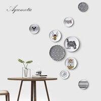 Aqumotic decorativos para colgar de la pared Nordic estante placa de cerámica 1 unid enviar gancho negro blanco Grid animal dibujo 12 estilos