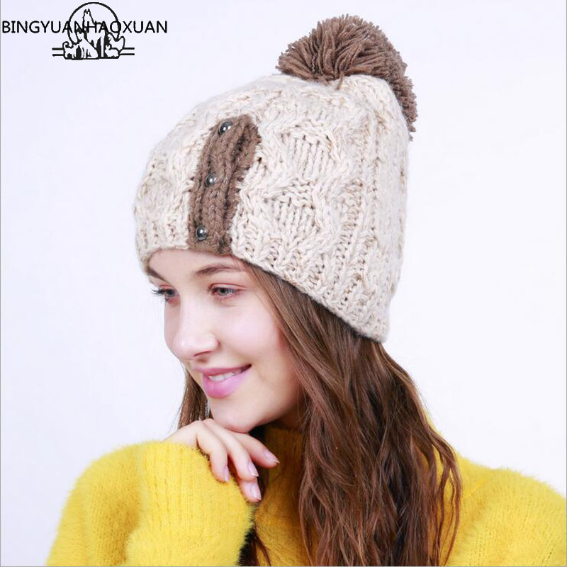 BINGYUANHAOXUAN 2017 New Fashion Adult Winter Gorros Knitting Hats For Women Skullies And Beanie Woolen Caps Feminino 2016 new fashion letter gorros hats bonnets