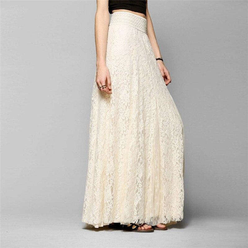 white cotton long lace skirt Summer Beach Wedding Skirt Retro Wedding Look Pleated Tulle Skirts Female School Maxi Skirt