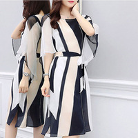 2019 Summer Women Long Dress Black And White Stripe Satin Dress Tunic Maxi Dress Women Evening Party Dress Vestidos de festa