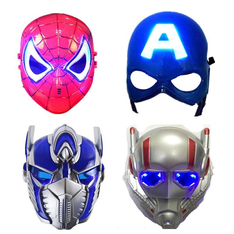 LED Light Masks Superhero Captain America & Spiderman Optimus Prime Mask For Adults Kids Party Halloween Birthday Gift 2pcs/lot