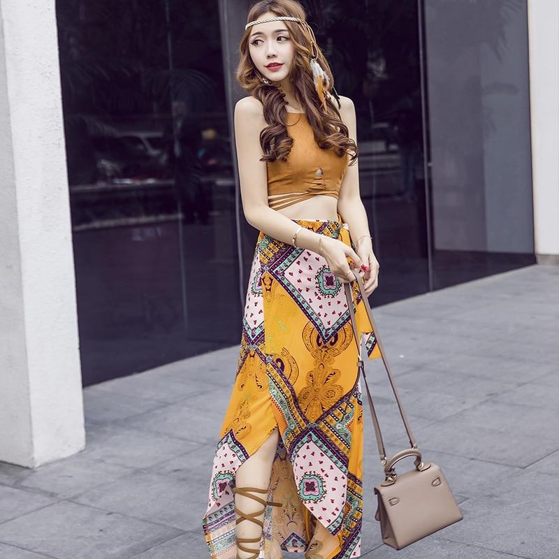 2017 Summer new Korean women's Republic of Korea Two pieces backless halter cross women maxi dress vestidos