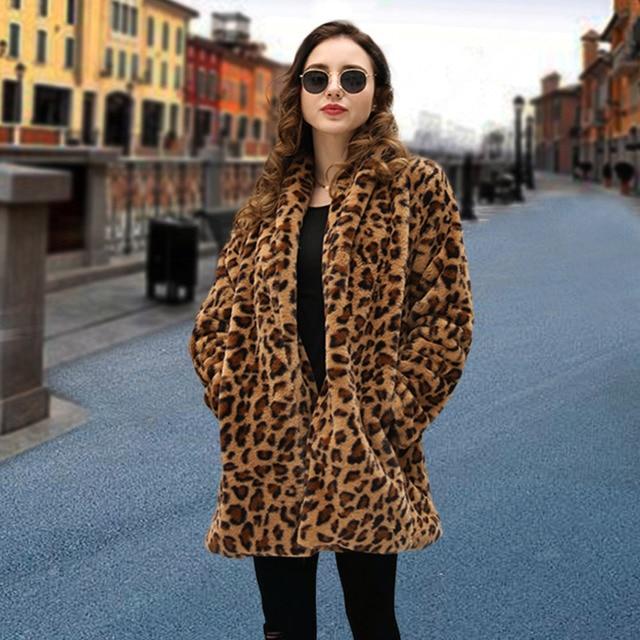 c1416bb386306 Elegant Leopard Faux Fur rabbit fur coat Women Autumn Plus Cashmere Warm  Coat Female Winter Cardigan Outwear Fake Fur Jacket