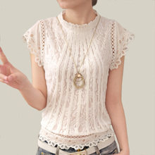 Blusas Femininas Summer Women Fashion Plus Size Crochet Hollow out Lace Blouse Short Sleeve White Black Slim Tops Shirts