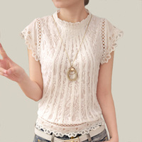 Blusas Femininas 2016 Summer Women Fashion Plus Size Crochet Hollow Out Lace Blouse Short Sleeve White