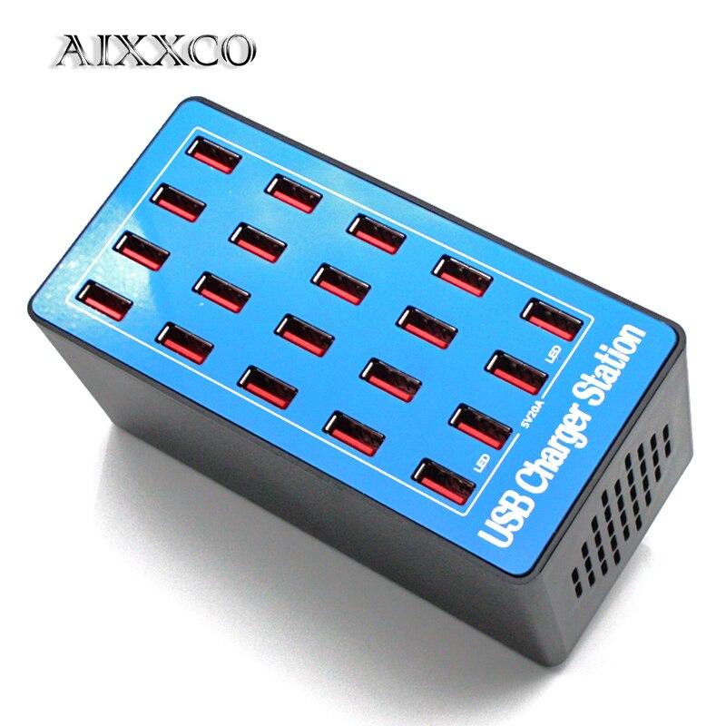 AIXXCO 20 ports 20A 100 W Multi USB chargeur HUB USB Station de charge Dock universel téléphone portable chargeurs de bureau pour iphone