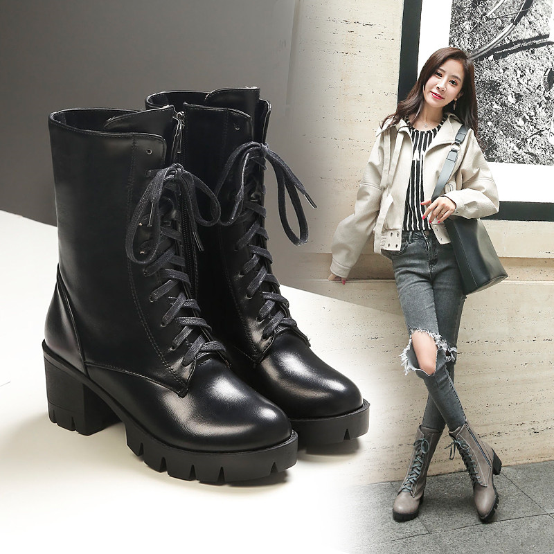 YMECHIC Winter Black Brown Ladies Lace Up Female Shoes Chunky Block High Heels Platform Womens Motorcycle
