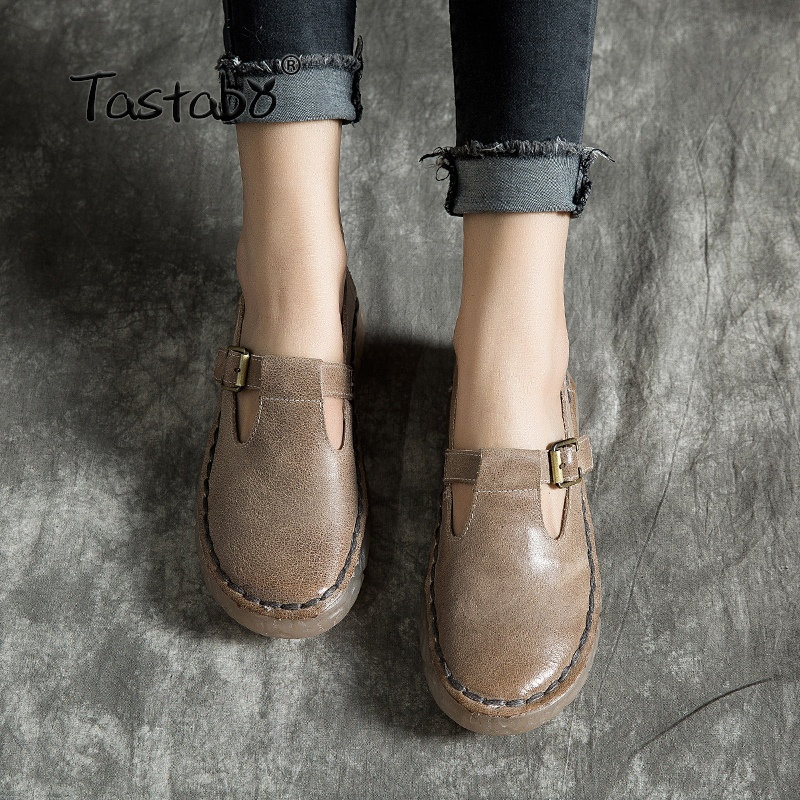 Tastabo Leather soft bottom shoes Comfortable Wild women s shoes Flat women s shoes No lace