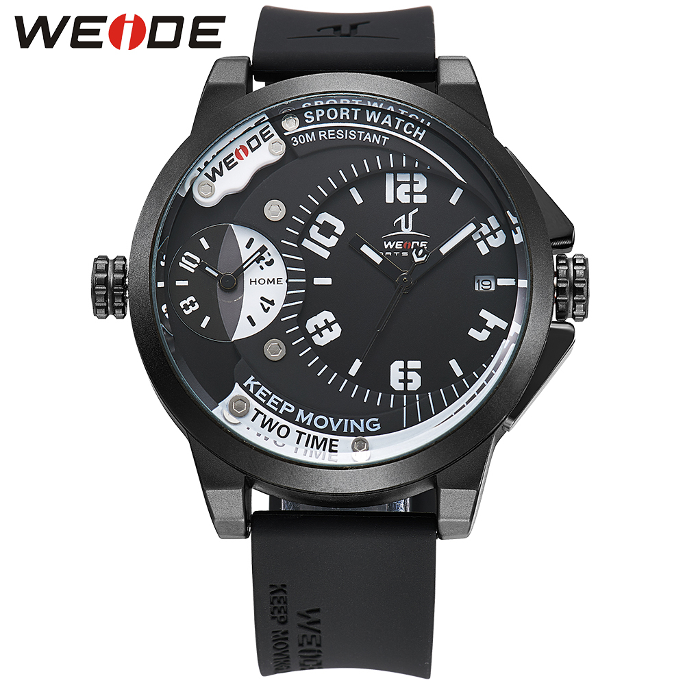 ФОТО WEIDE Sport Watch Silicone Black Water Resistance Big Dial Quartz-Watch Complete Calendar High Quality Clock With Gift Box
