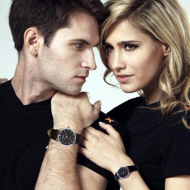 New 2018 1 Pairs Luxury Brand Women Quartz Watch Relogio Leather Band Watch Casu