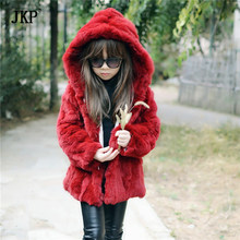 100% Real Genuine Children/Adult Hooded Rex Rabbit Fur Coat Jacket Clothing fur Outwear Natural Winter Warm Baby(China)