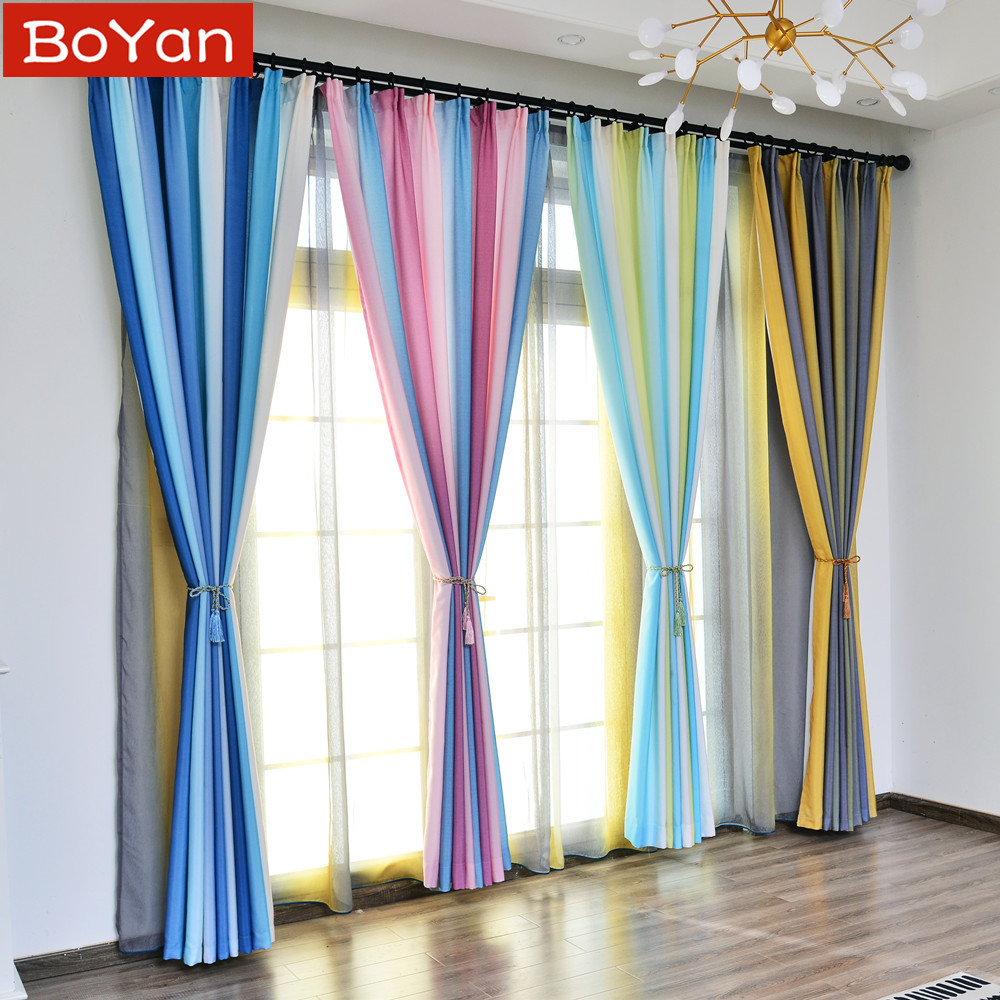 US $7.7 40% OFF|4 Colors Striped Navy Curtains for Living Room Rainbow  Colorful Children Bedroom Sheer Curtain Kids Window Cortinas Panel  Fabric-in ...