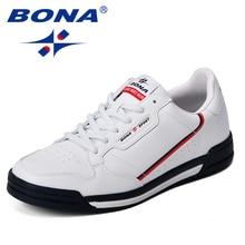 BONA 패션 남성 플랫 신발 가을 통기성 남성 캐주얼 신발 트렌드 경량 레저 신발 편안한 스니커즈 신발