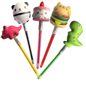Squishy Pen Cap Panda Dinosaur Unicorn Cake Animal Slow Rising Jumbo With Pen Stress Relief Toys Student School Supplies Office