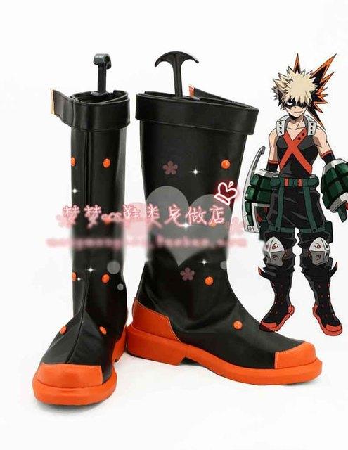 Boku no hero academia katsuki bakugou zapatos cosplay de halloween negro alto botas custom-made