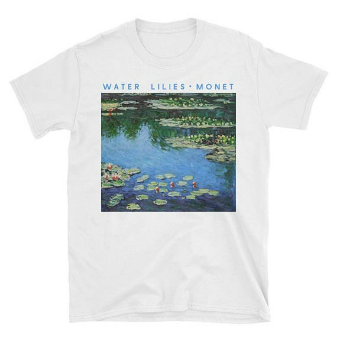 Claude Monet Painting Water Lilies t shirt Ladies Summer Tops Tees Tumblr Graphic Shirts A