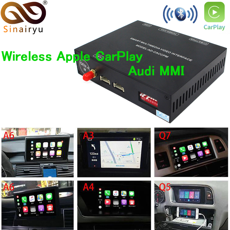 Sinairyu Aftermarket OEM Wireless Apple CarPlay A3 A4 A5 A6 A7 A8 Q3 Q5 Q7 MMI Solution Retrofit with Reverse Camera for AudiSinairyu Aftermarket OEM Wireless Apple CarPlay A3 A4 A5 A6 A7 A8 Q3 Q5 Q7 MMI Solution Retrofit with Reverse Camera for Audi