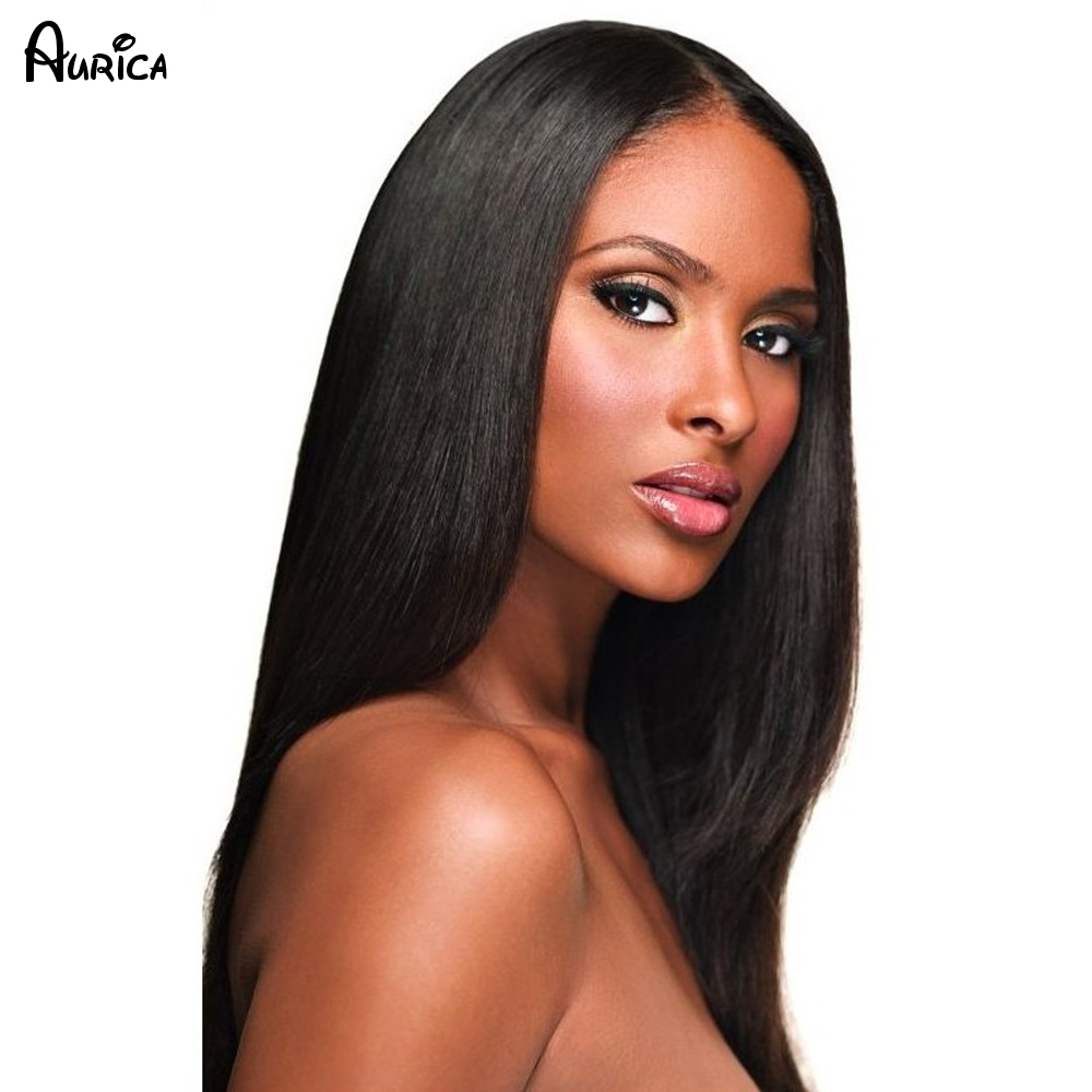 Silk Straight Natural Black Long Synthetic Lace Front Wig Glueless1B Color Heat Resistant Hair Wigs Free