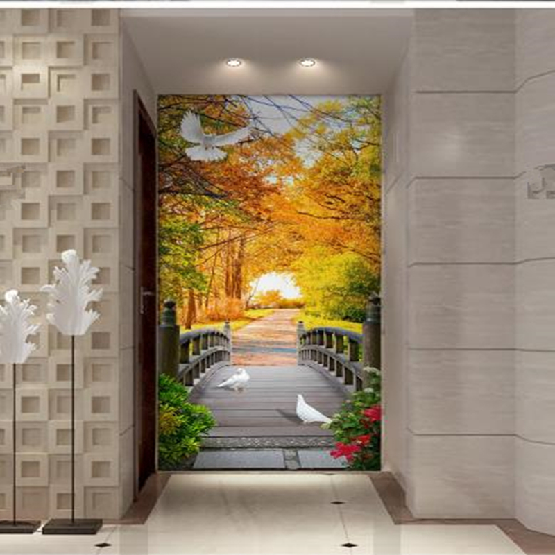 Custom Photo Wallpapers Wooden Bridge Wall Papers Landscape Painting Modern Entrance Hallway Living Room Walls Murals Home Decor custom photo size wallpapers 3d murals for living room tv home decor walls papers nature landscape painting non woven wallpapers