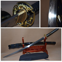 Hot Sale Real High Quality Full Handmade Battle Ready Clay Tempered Full Tang ENGRAVE DRAGON