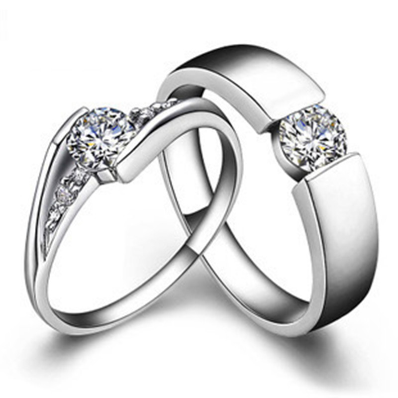 solid gold his and her rings 05ct female engagement ring 025ct male wedding ring sona simulate diamond couple rings for lover - Male Wedding Ring