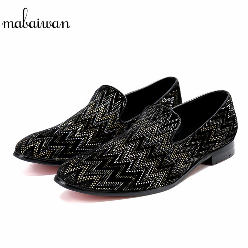 Mabaiwan 2018 Black Fashion Causal Men Shoes Loafers Slipper Wedding Dress Shoes Men Slip On Handmade Party Leather Flats new fashion gold snakeskin pattern loafers men handmade slip on leather shoes big sizes men s party and prom shoes casual flats