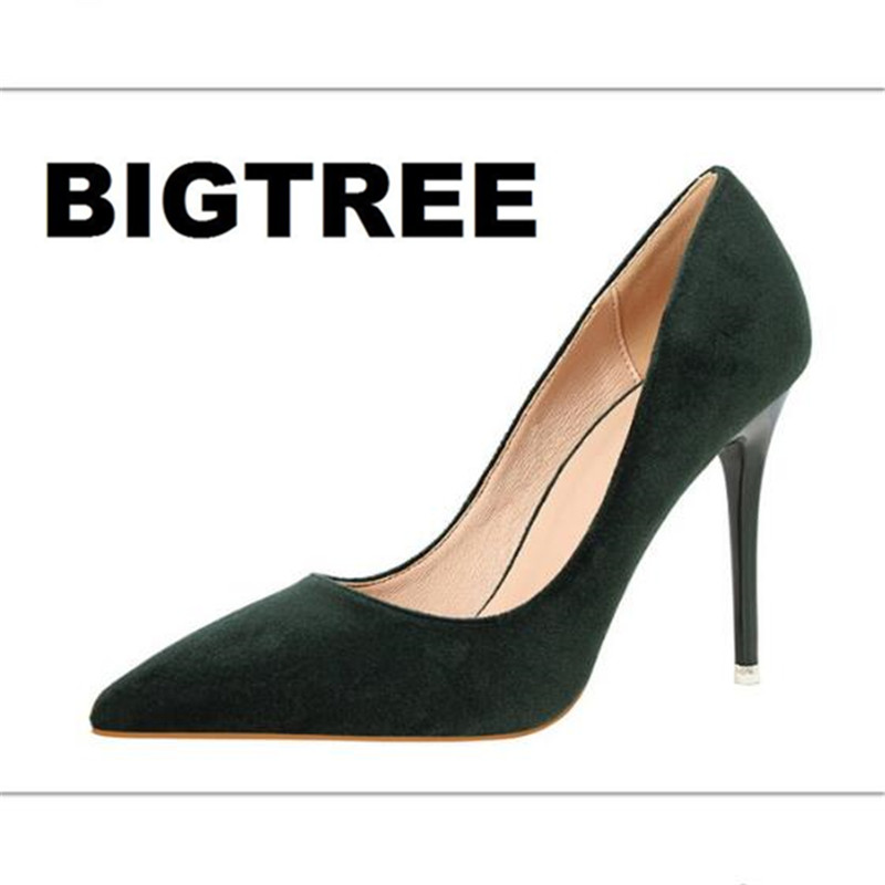 BIGTREE Pumps Women Elegant Pumps Fashion Thin Office Heels Sexy Shallow Mouth Pointed Flock Suede High
