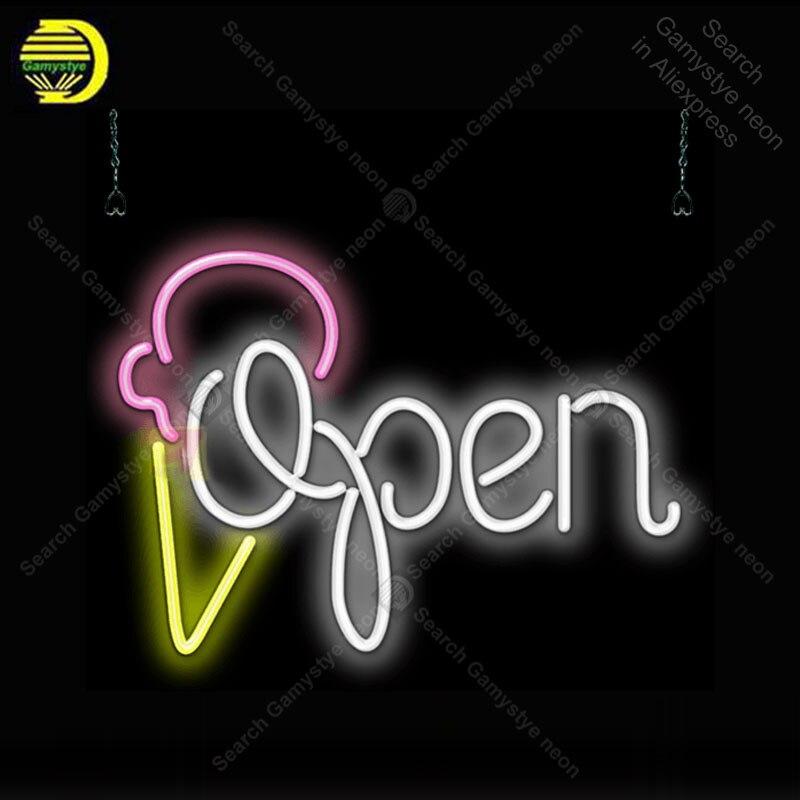 Néon Signe pour Ouvert avec Cornet de Crème Glacée néon Light Enregistrez-vous Décor Magasin Affichage en verre Tube Handcrafted Arcade Art Néon lampe pour Chambre