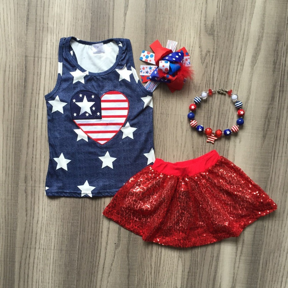 baby girls summer new arrival outfits Independence Day outfits heart-shaped us flag top red shining dress with accessoriesbaby girls summer new arrival outfits Independence Day outfits heart-shaped us flag top red shining dress with accessories