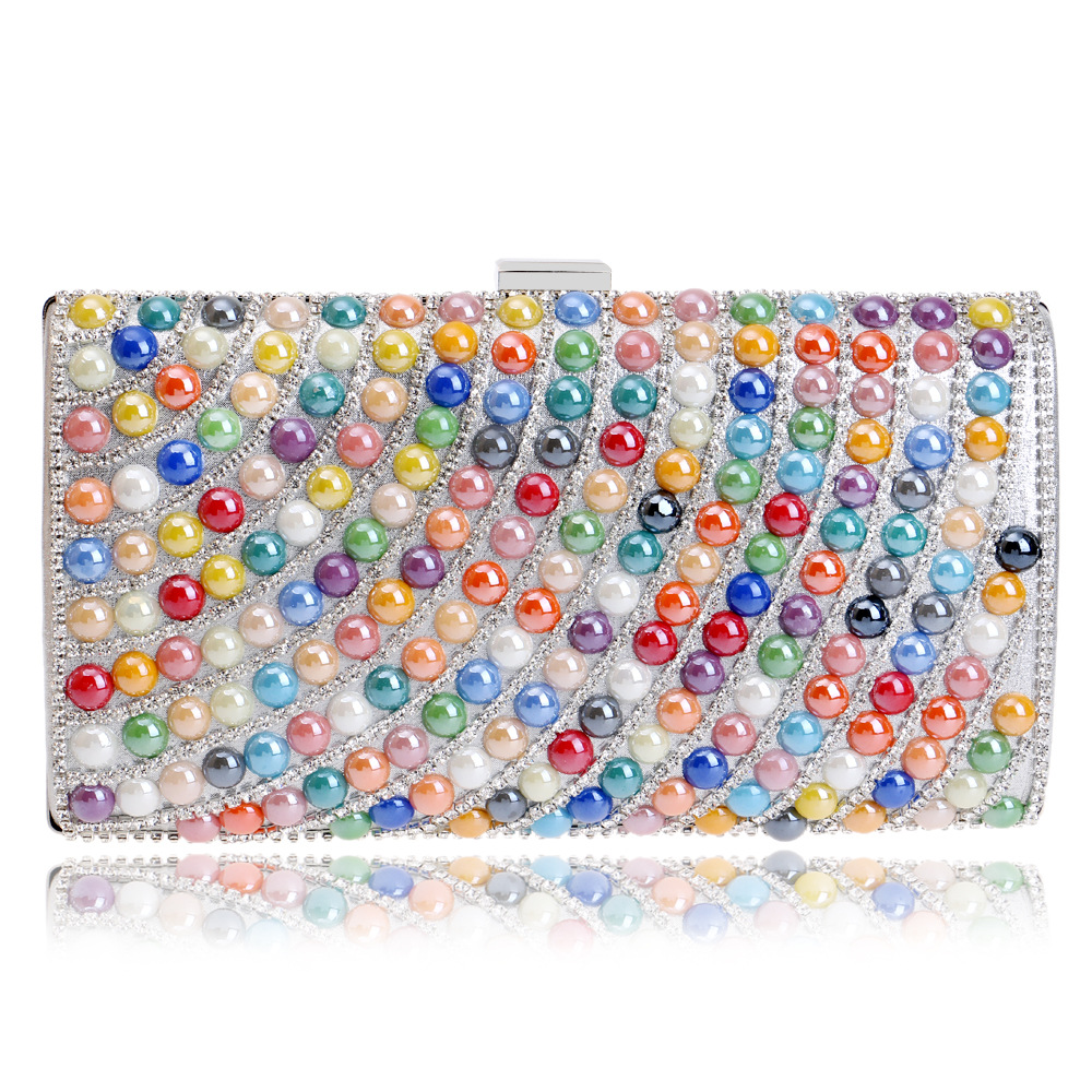 Women's Special Flap with Luxurious Pearls and Diamonds for Party, Chic Evening Bag with Chain, Clutch Purse